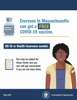 COVID-19 vaccine information about not needing an ID or insurance